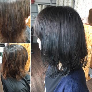 ミディアム ネイビーカラー コリアンネイビー ネイビージュ ヘアスタイルや髪型の写真・画像
