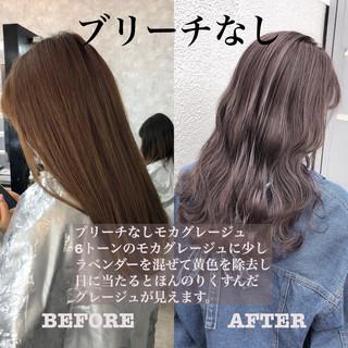 ハイトーンカラー ピンクベージュ アッシュグレージュ セミロング ヘアスタイルや髪型の写真・画像