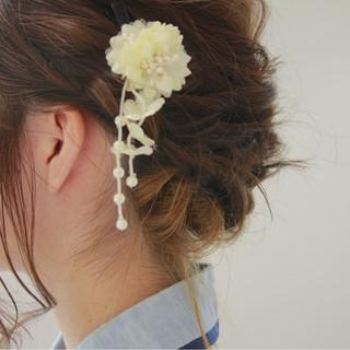 結婚式 ミディアム ヘアアレンジ 色気 ヘアスタイルや髪型の写真・画像