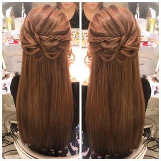 ロング デート 簡単ヘアアレンジ ナチュラル ヘアスタイルや髪型の写真・画像