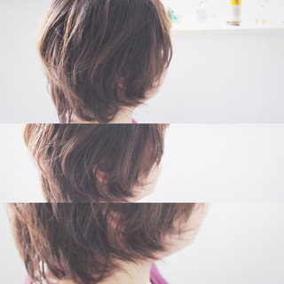 ボブ 大人女子 アッシュ 小顔 ヘアスタイルや髪型の写真・画像