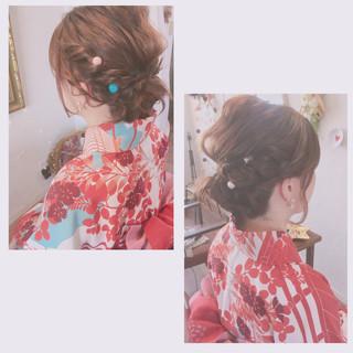 ミディアム 編み込み 結婚式 ナチュラル ヘアスタイルや髪型の写真・画像