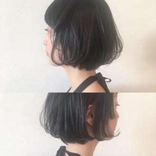 ニュアンス ボブ 暗髪 ショート ヘアスタイルや髪型の写真・画像