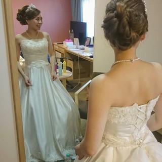 夜会巻 ヘアアレンジ ドレス ブライダル ヘアスタイルや髪型の写真・画像
