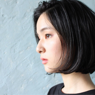 大人女子 ショート ナチュラル 黒髪 ヘアスタイルや髪型の写真・画像