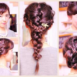 セミロング ナチュラル 裏編み込み 編み込み ヘアスタイルや髪型の写真・画像