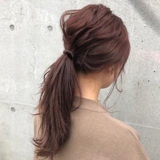 セミロング ナチュラル ピンク 簡単ヘアアレンジ ヘアスタイルや髪型の写真・画像