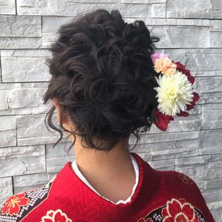 暗色カラー 成人式 ガーリー ヘアアレンジ ヘアスタイルや髪型の写真・画像