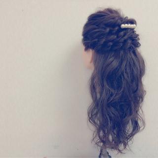 フェミニン ロング ヘアアレンジ 大人かわいい ヘアスタイルや髪型の写真・画像