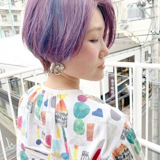 ラベンダーグレージュ ピンクラベンダー ラベンダーピンク ショートボブ ヘアスタイルや髪型の写真・画像