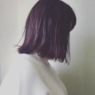 ブラントカット ボブ ハイライト ピンク ヘアスタイルや髪型の写真・画像