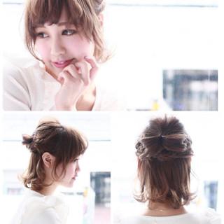 編み込み ヘアアレンジ 透明感 おフェロ ヘアスタイルや髪型の写真・画像 ヘアスタイルや髪型の写真・画像