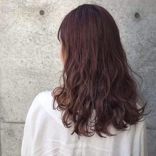 ガーリー セミロング ラベンダーピンク ヘアアレンジ ヘアスタイルや髪型の写真・画像
