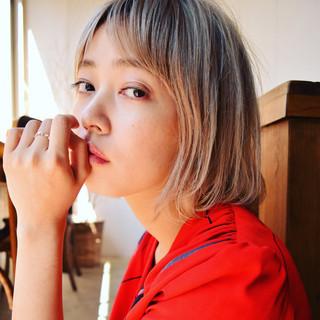 外国人風 モード ボブ グラデーションカラー ヘアスタイルや髪型の写真・画像