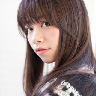 ストレート 小顔 セミロング ピュア ヘアスタイルや髪型の写真・画像