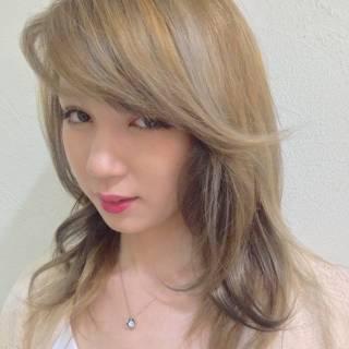セミロング 渋谷系 愛され グラデーションカラー ヘアスタイルや髪型の写真・画像