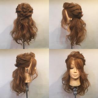 セミロング くるりんぱ ヘアアレンジ ハーフアップ ヘアスタイルや髪型の写真・画像