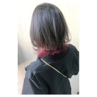 大人かわいい インナーカラー デート ボブ ヘアスタイルや髪型の写真・画像