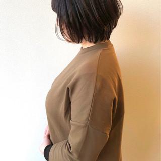 ダークカラー ナチュラル ブラウン ショートボブ ヘアスタイルや髪型の写真・画像