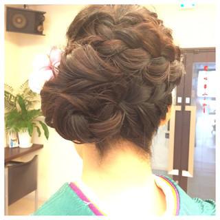 ブライダル 結婚式 ヘアアレンジ セミロング ヘアスタイルや髪型の写真・画像