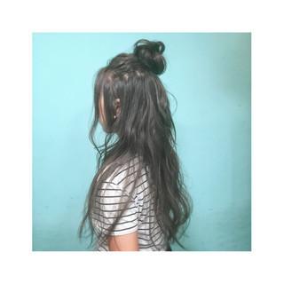 ロング ショート ハーフアップ 外国人風 ヘアスタイルや髪型の写真・画像
