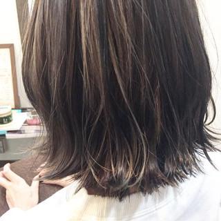 ボブ 暗髪 アッシュ ハイライト ヘアスタイルや髪型の写真・画像