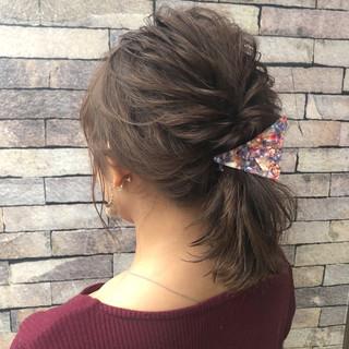 ゆるふわ ヘアアレンジ フェミニン ボブ ヘアスタイルや髪型の写真・画像