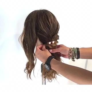 ロング エレガント デート ヘアアレンジ ヘアスタイルや髪型の写真・画像