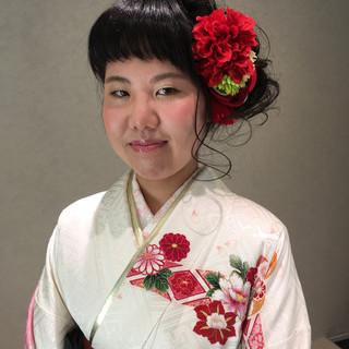 フェミニン ヘアアレンジ 袴 セミロング ヘアスタイルや髪型の写真・画像