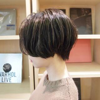 ショートボブ デート ハイライト ハンサムショート ヘアスタイルや髪型の写真・画像