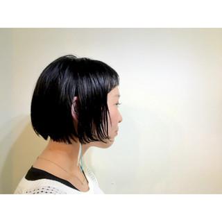 ナチュラル 黒髪 前髪あり 耳かけ ヘアスタイルや髪型の写真・画像