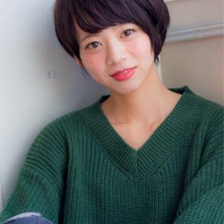 ナチュラル ショートボブ ボブ 田中美保 ヘアスタイルや髪型の写真・画像