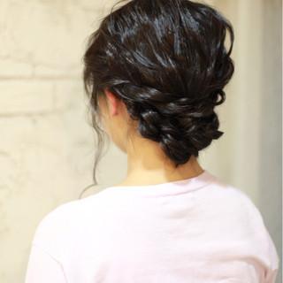 結婚式 ヘアアレンジ ミディアム 大人かわいい ヘアスタイルや髪型の写真・画像