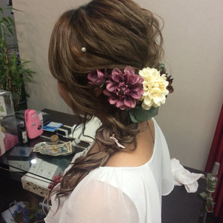 編み込みヘア ロング 結婚式 ヘアアレンジ ヘアスタイルや髪型の写真・画像