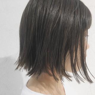 ボブ ハイライト グレージュ ブリーチなし ヘアスタイルや髪型の写真・画像