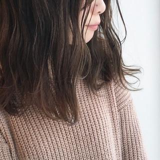 ゆるふわ ブラウン 外国人風カラー セミロング ヘアスタイルや髪型の写真・画像