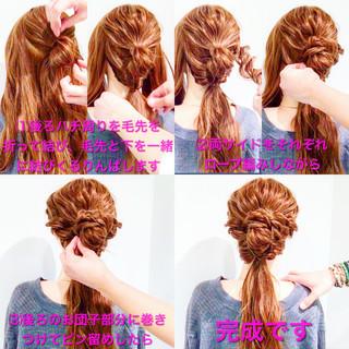 フェミニン 簡単ヘアアレンジ ヘアアレンジ ロング ヘアスタイルや髪型の写真・画像