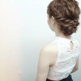 結婚式 ヘアアレンジ モテ髪 アップスタイル ヘアスタイルや髪型の写真・画像