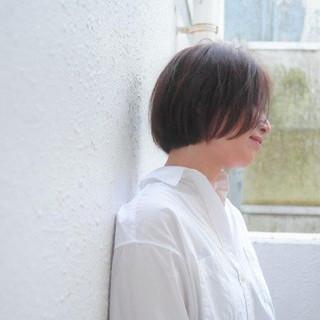 ナチュラル ボブ 大人女子 前髪なし ヘアスタイルや髪型の写真・画像