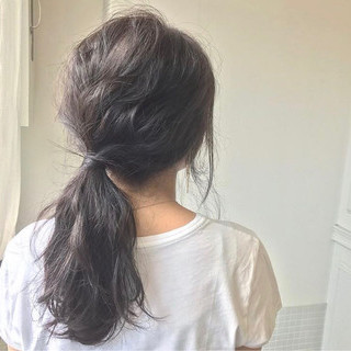 アッシュ アッシュブラウン セミロング アッシュベージュ ヘアスタイルや髪型の写真・画像