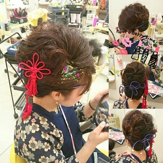 結婚式 着物 セミロング ヘアアレンジ ヘアスタイルや髪型の写真・画像