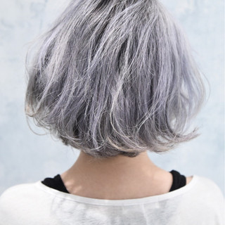 モード ボブ くせ毛風 ハイライト ヘアスタイルや髪型の写真・画像