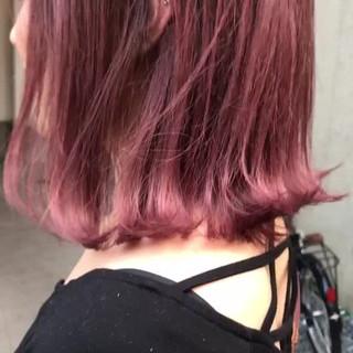 ピンク ピンクアッシュ ラベンダーピンク ミディアム ヘアスタイルや髪型の写真・画像