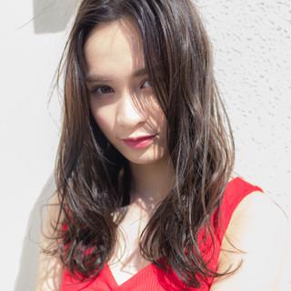 抜け感 スポーツ 夏 セミロング ヘアスタイルや髪型の写真・画像
