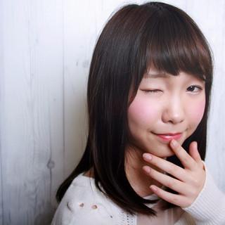 ナチュラル セミロング かわいい 前髪あり ヘアスタイルや髪型の写真・画像