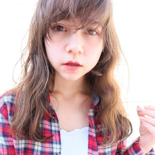 外国人風カラー ストレート モテ髪 セミロング ヘアスタイルや髪型の写真・画像