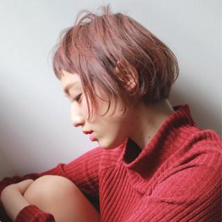前髪あり 冬 ベビーバング ハイライト ヘアスタイルや髪型の写真・画像