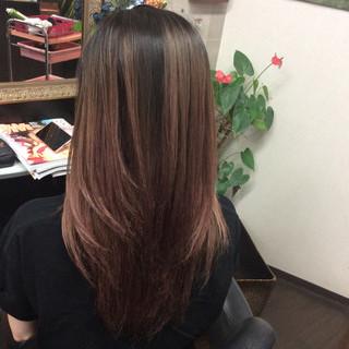 ロング ガーリー ダブルカラー ラベンダーピンク ヘアスタイルや髪型の写真・画像