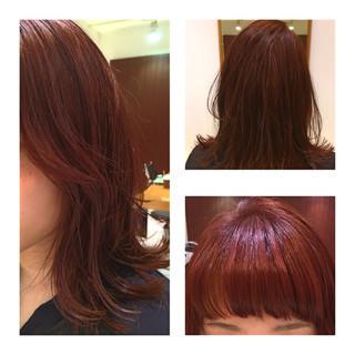 透明感 前髪あり ストリート レッド ヘアスタイルや髪型の写真・画像