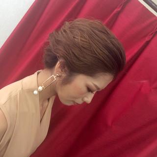 ヘアアレンジ ナチュラル セミロング 結婚式 ヘアスタイルや髪型の写真・画像